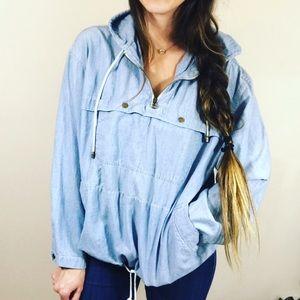 Vtg Liz Claiborne Denim Pullover Anorak Jacket